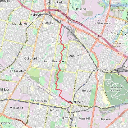 Regents Park - Clyde GPS track, route, trail