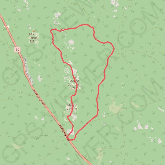 Sullivan Rock - Mount Vincent - Mount Cuthbert GPS track, route, trail