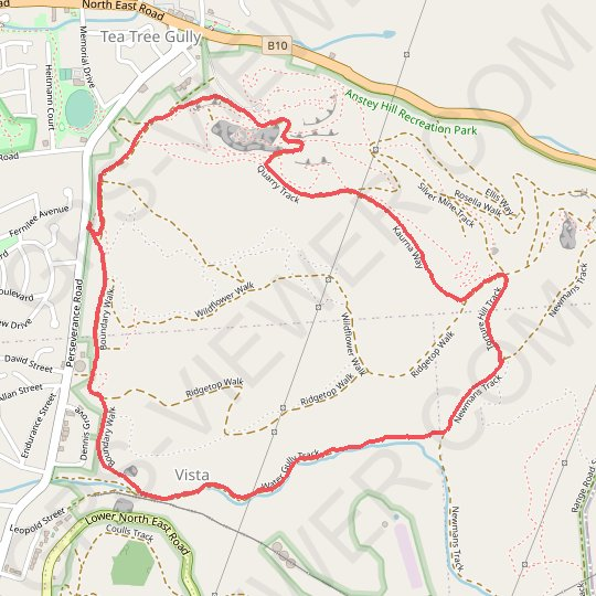 Anstey Hill Recreation Park GPS track, route, trail