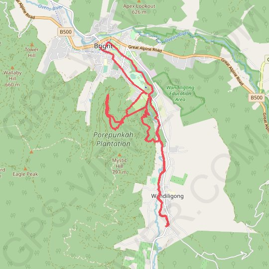 Bright Moutain Bike Park GPS track, route, trail