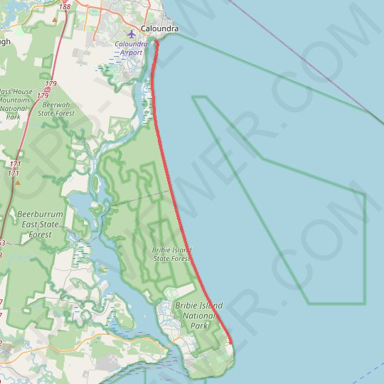 Bribie Island - Ocean Beach Ride GPS track, route, trail
