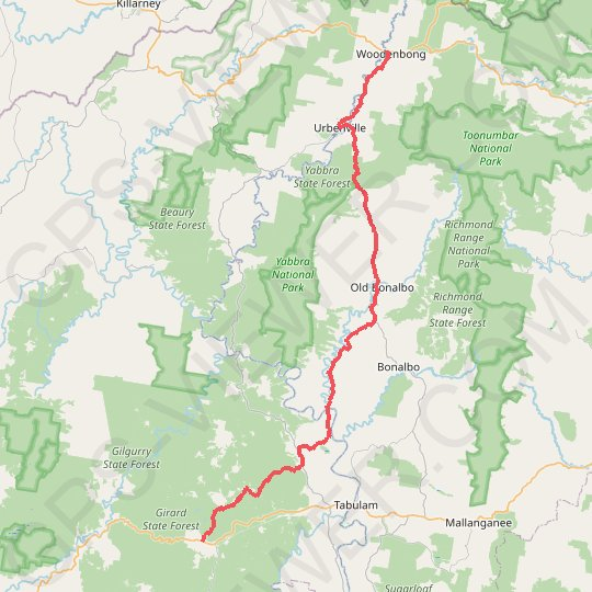 Drake - Woodenbong GPS track, route, trail