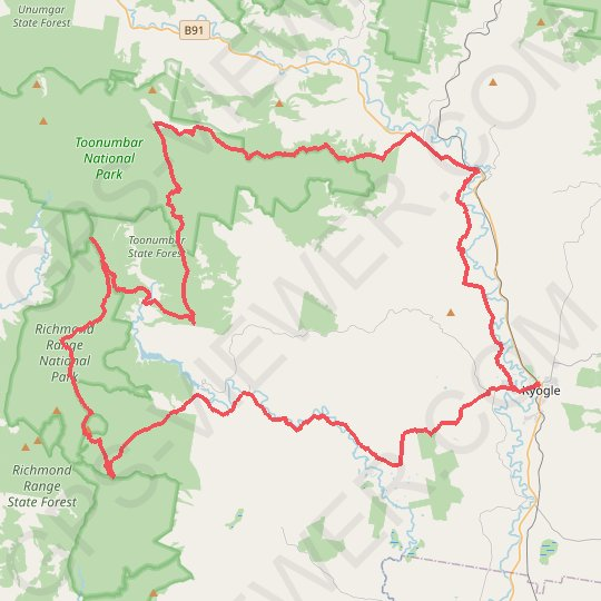 Kyogle - Peacock Creek - Bungdoozle - Iron Pot Creek - Sherwood Lookout GPS track, route, trail