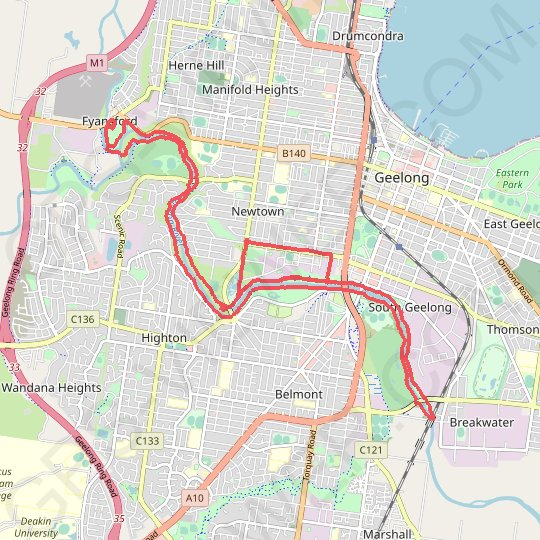 Barwon River GPS track, route, trail