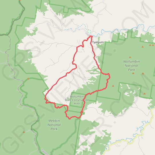 Tyalgum - Brummies Lookout - Cutters Camp GPS track, route, trail