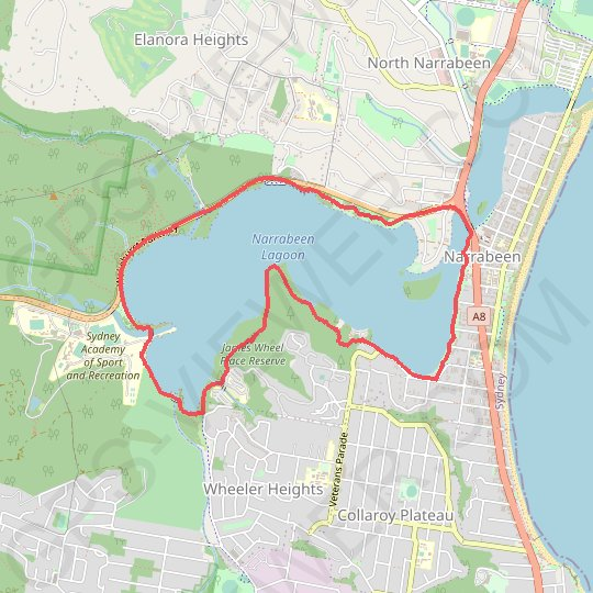 Narrabeen Lagoon GPS track, route, trail