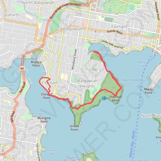 Manly to Spit Bridge Walk GPS track, route, trail